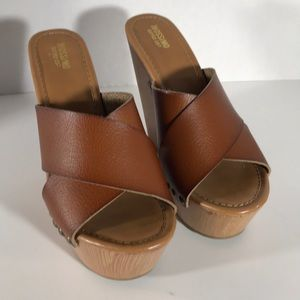 "Mossimo Tan Leather Wedges, 5.5"" Wood Heel"